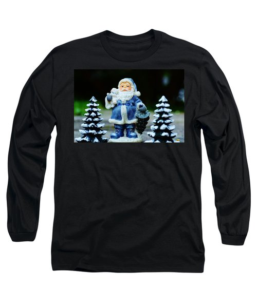 Blue Santa Christmas Card Long Sleeve T-Shirt by Bellesouth Studio