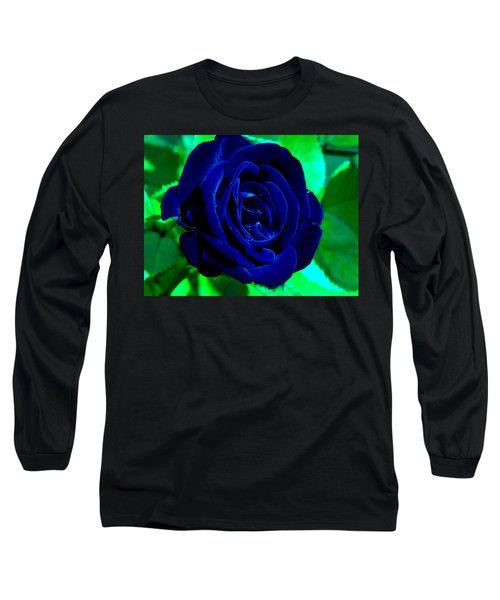 Blue Velvet Rose Long Sleeve T-Shirt