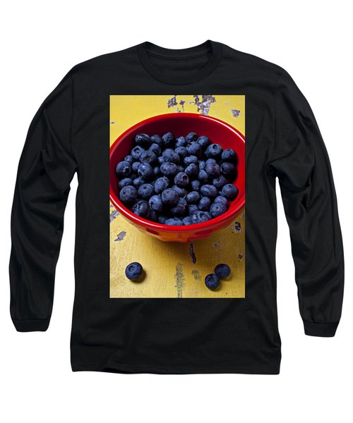 Blueberries In Red Bowl Long Sleeve T-Shirt
