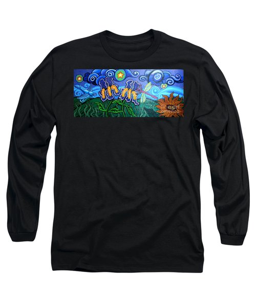 Bluebird Dragonfly And Irises Long Sleeve T-Shirt by Genevieve Esson