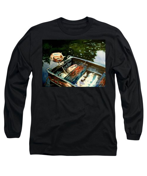 Long Sleeve T-Shirt featuring the painting Boat In Fog 2 by Marilyn Jacobson