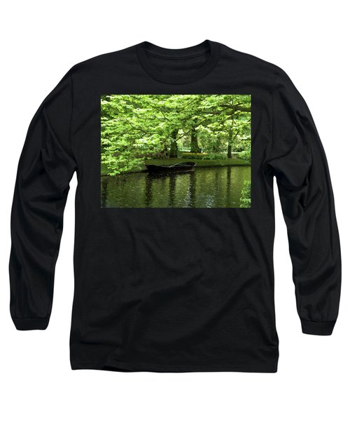 Boat On A Lake Long Sleeve T-Shirt by Manuela Constantin