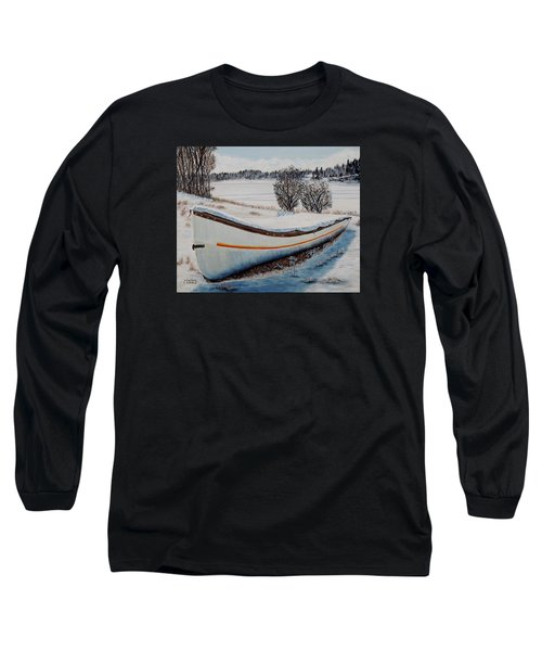 Long Sleeve T-Shirt featuring the painting Boat Under Snow by Marilyn  McNish