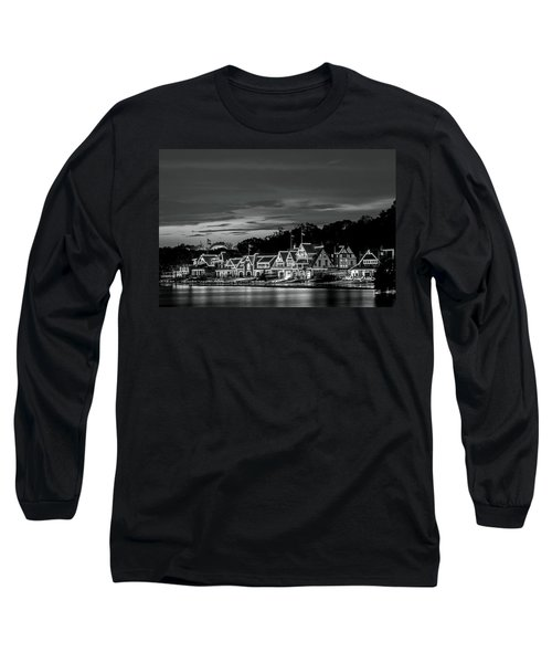 Boathouse Row Philadelphia Pa Night Black And White Long Sleeve T-Shirt