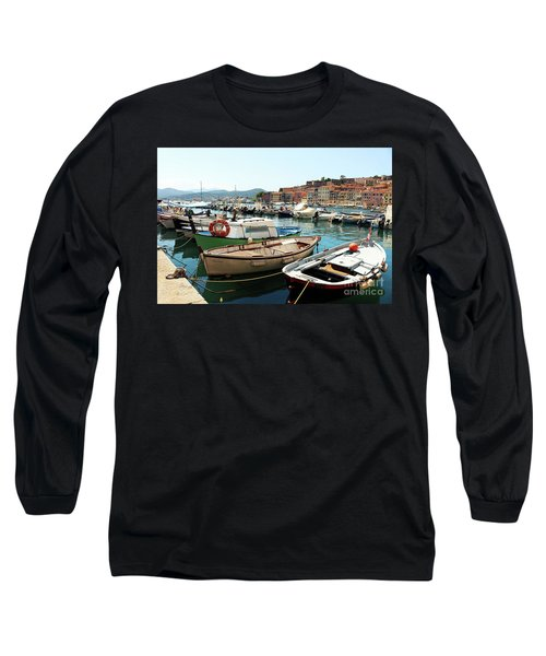 Long Sleeve T-Shirt featuring the photograph Boats In The Harbour by MGL Meiklejohn Graphics Licensing