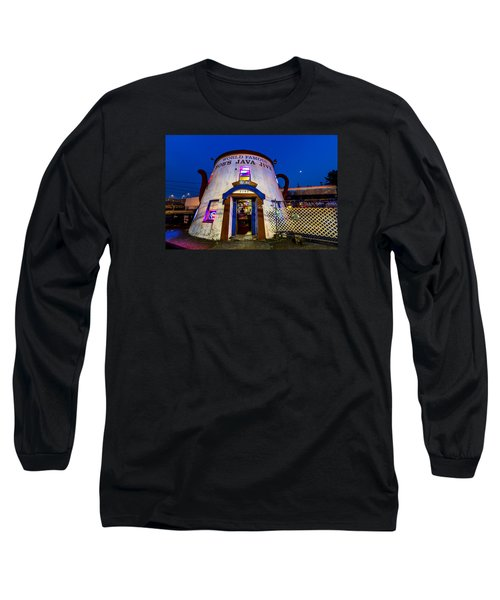 Long Sleeve T-Shirt featuring the photograph Bob's Java Jive - Historic Landmark During Blue Hour by Rob Green