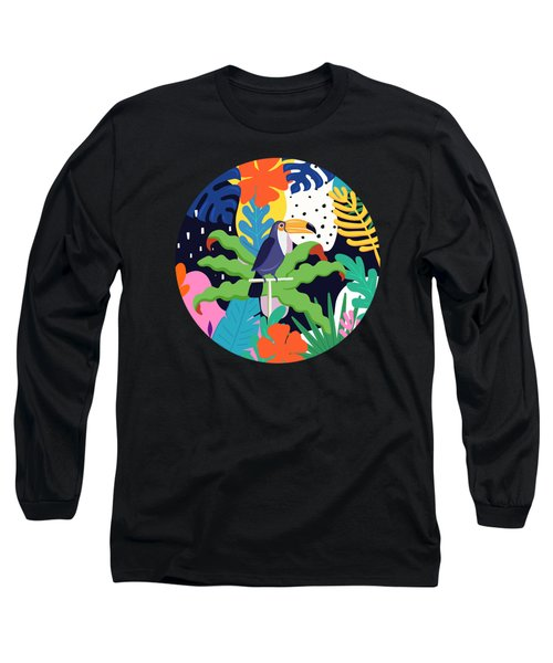 Bold Tropical Jungle Abstraction With Toucan Memphis Style Long Sleeve T-Shirt