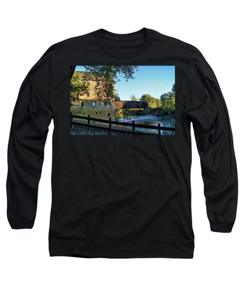 Long Sleeve T-Shirt featuring the photograph Bollinger Mill And Bridge by Cricket Hackmann