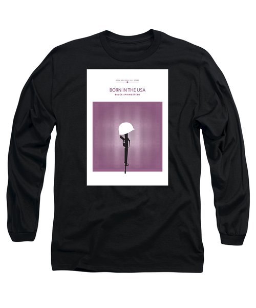 Long Sleeve T-Shirt featuring the drawing Born In The Usa -- Bruce Springsteen by David Davies