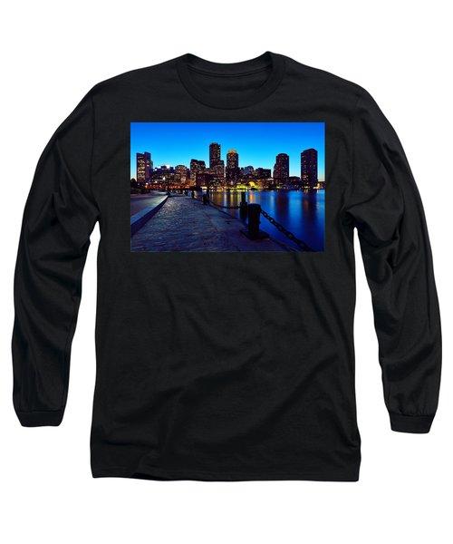Boston Harbor Walk Long Sleeve T-Shirt by Rick Berk