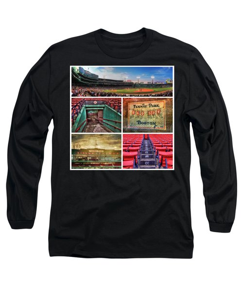 Boston Red Sox Collage - Fenway Park Long Sleeve T-Shirt by Joann Vitali