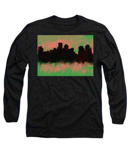 Boston Skyline Green  Long Sleeve T-Shirt by Enki Art