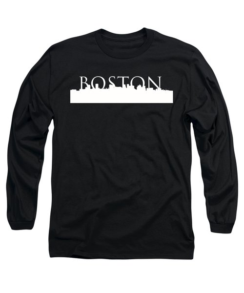 Boston Skyline Outline Logo 2 Long Sleeve T-Shirt by Joann Vitali
