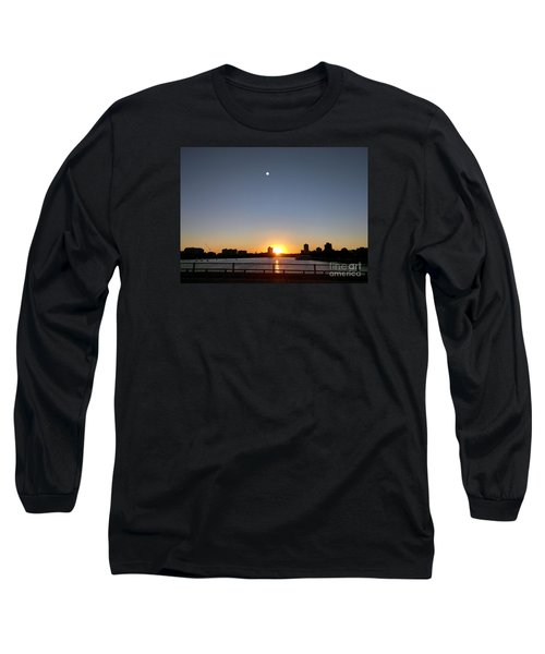 Long Sleeve T-Shirt featuring the photograph Boston Skyline Sunset   by Haleh Mahbod