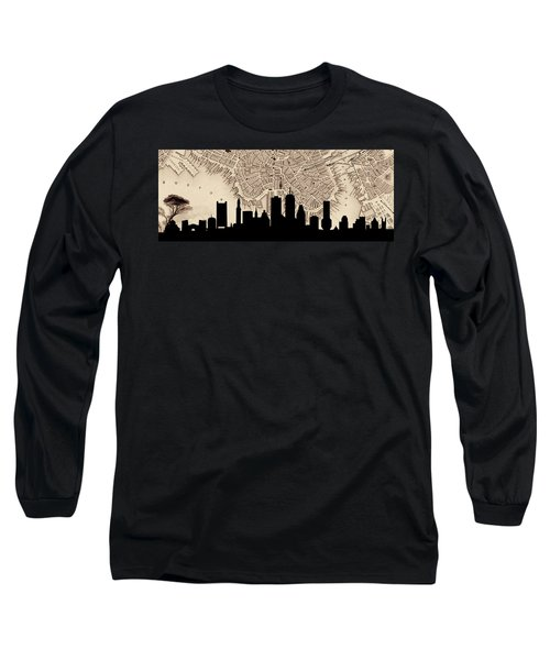 Boston Skyline Vintage Long Sleeve T-Shirt by Andrew Fare