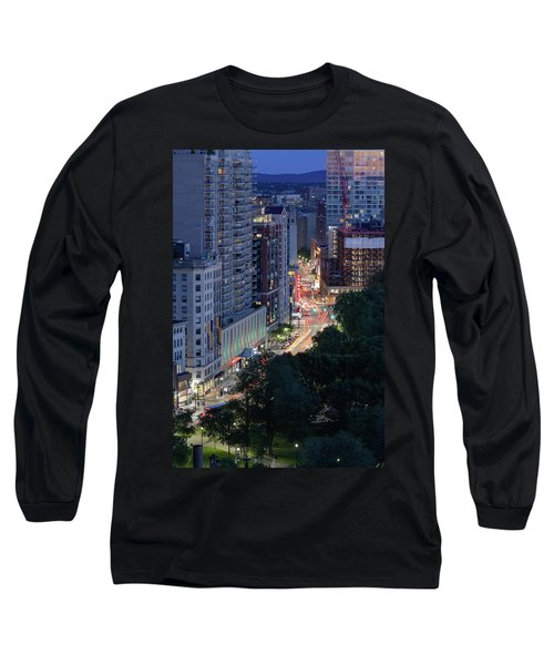 Long Sleeve T-Shirt featuring the photograph Boston Tremont St by Michael Hubley
