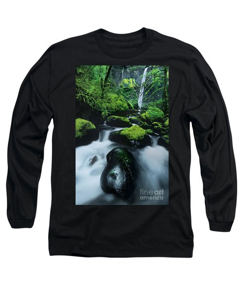 Long Sleeve T-Shirt featuring the photograph Boulder Elowah Falls Columbia River Gorge Nsa Oregon by Dave Welling