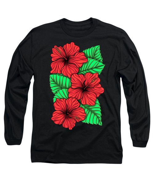 Bouquet Of Hibiskus Flower And Tropical Leaves Long Sleeve T-Shirt