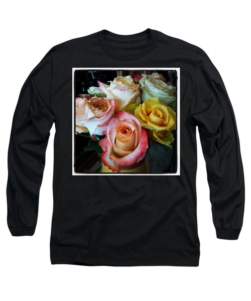 Long Sleeve T-Shirt featuring the photograph Bouquet Of Mature Roses At The Counter by Mr Photojimsf