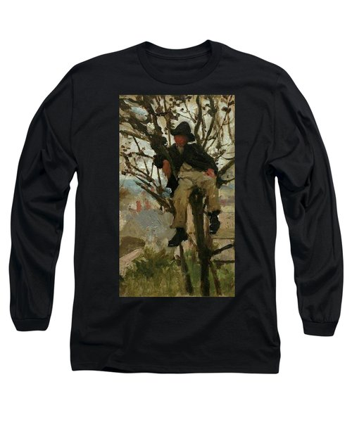 Long Sleeve T-Shirt featuring the painting Boy In A Tree by Henry Scott Tuke