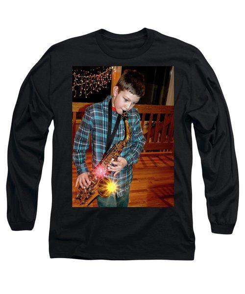 Boy Playing The Saxophone Long Sleeve T-Shirt