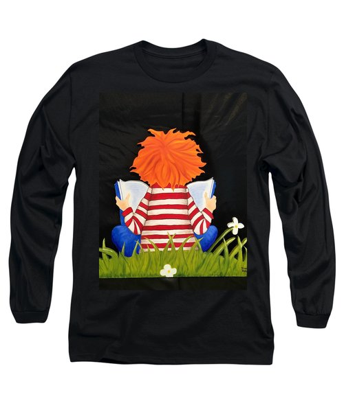 Boy Reading Book Long Sleeve T-Shirt by Brenda Bonfield