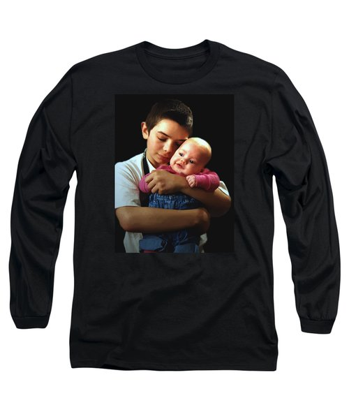 Long Sleeve T-Shirt featuring the photograph Boy With Bald-headed Baby by RC deWinter
