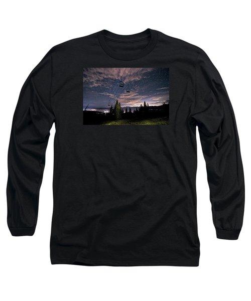 Breckenridge Chairlift Under Stars Long Sleeve T-Shirt by Michael J Bauer