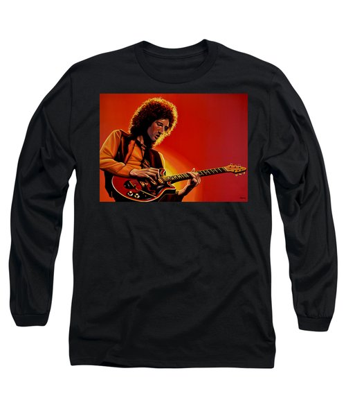 Brian May Of Queen Painting Long Sleeve T-Shirt by Paul Meijering