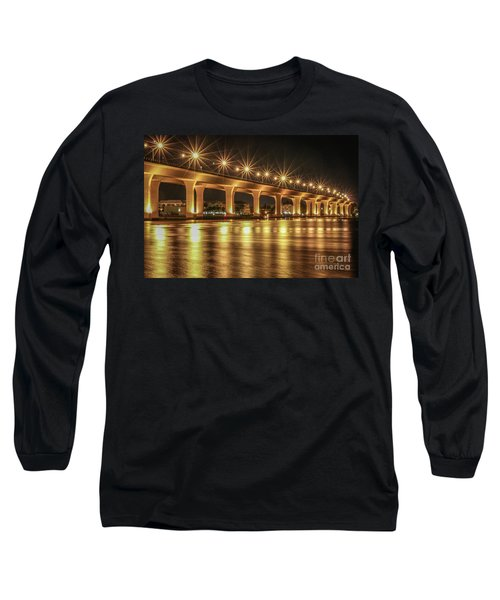 Bridge And Golden Water Long Sleeve T-Shirt by Tom Claud