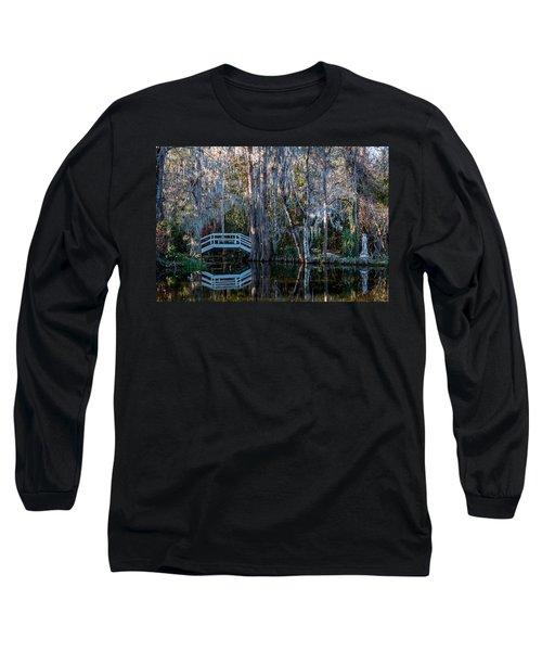 Bridge And Statue At Magnolia Plantation Gardens Long Sleeve T-Shirt