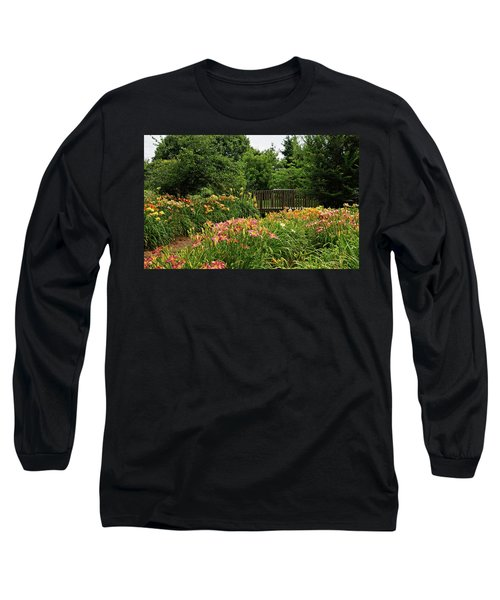 Long Sleeve T-Shirt featuring the photograph Bridge In Daylily Garden by Sandy Keeton
