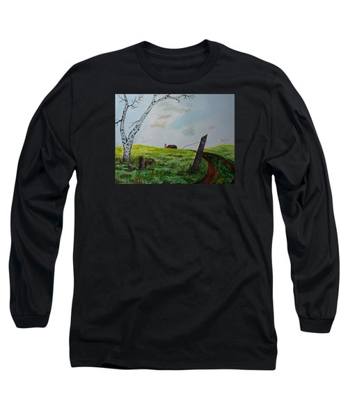 Long Sleeve T-Shirt featuring the painting Broken Fence by Jack G  Brauer