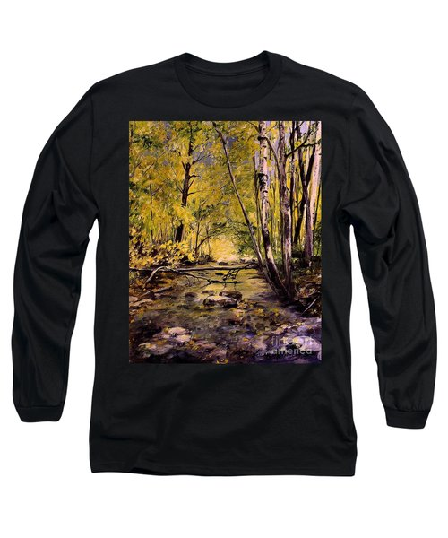 Brook In Stowe Vermont Long Sleeve T-Shirt by Laurie Rohner