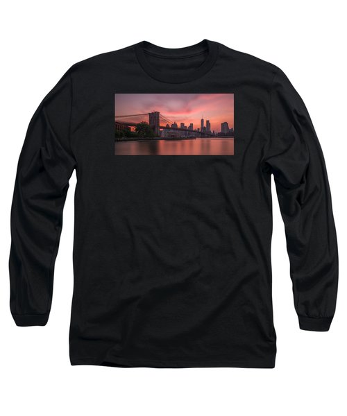 Brooklyn Bridge Sunset Long Sleeve T-Shirt by Scott McGuire
