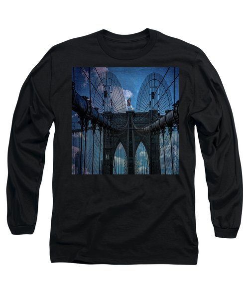 Long Sleeve T-Shirt featuring the photograph Brooklyn Bridge Webs by Chris Lord