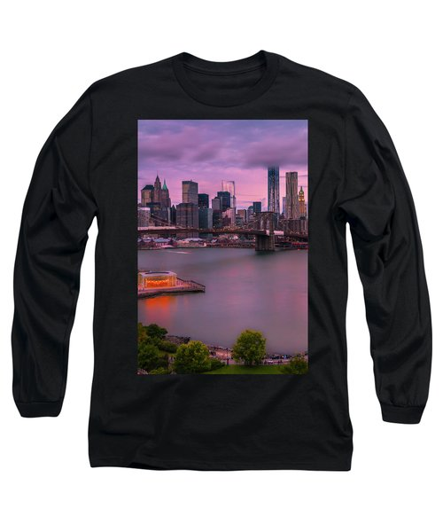 Long Sleeve T-Shirt featuring the photograph Brooklyn Bridge World Trade Center In New York City by Ranjay Mitra
