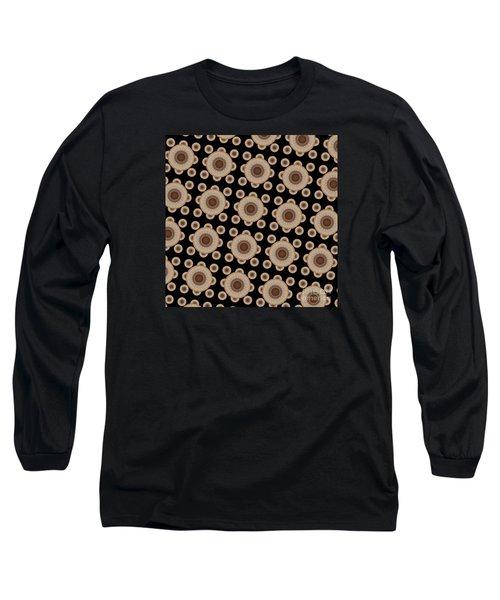 Long Sleeve T-Shirt featuring the digital art Brown And Black Mandala Pattren by Saribelle Rodriguez