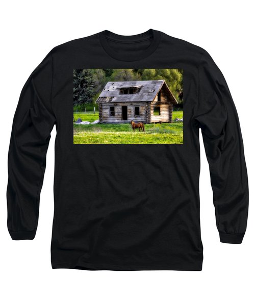 Brown Horse And Old Log Cabin Long Sleeve T-Shirt