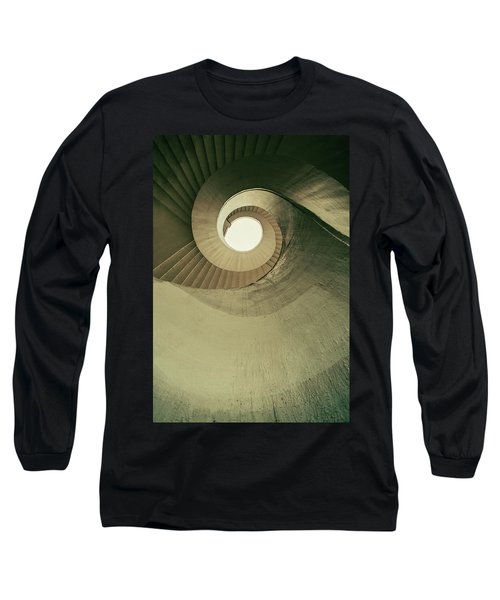 Long Sleeve T-Shirt featuring the photograph Brown Spiral Stairs by Jaroslaw Blaminsky