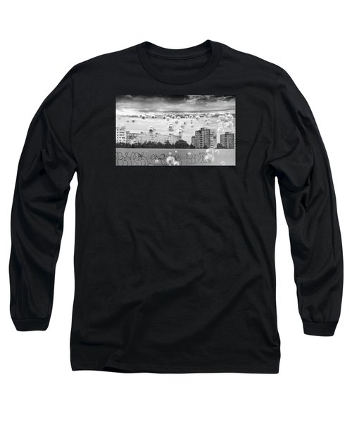 Bubbles And The City Long Sleeve T-Shirt by John Williams