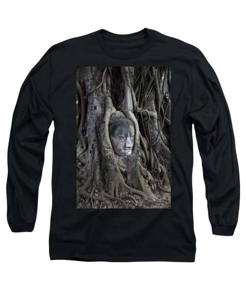 Buddha Head In Tree Long Sleeve T-Shirt by Adrian Evans