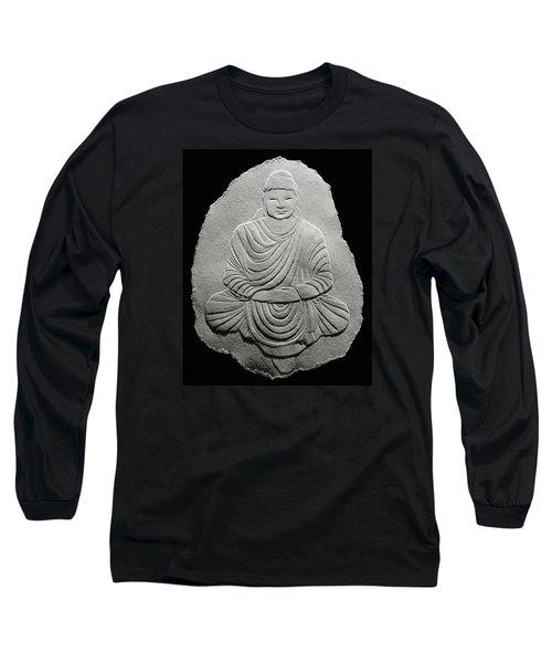 Budha - Fingernail Relief Drawing Long Sleeve T-Shirt by Suhas Tavkar