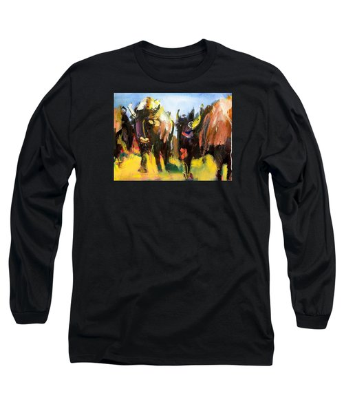 Long Sleeve T-Shirt featuring the painting Buffalo Lips by Les Leffingwell