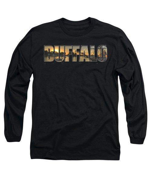 Buffalo Ny Canalside Sunset Long Sleeve T-Shirt by Michael Frank Jr