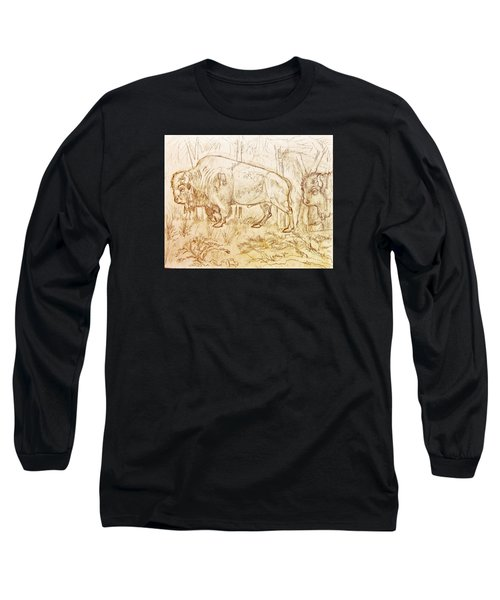 Buffalo Trail  Long Sleeve T-Shirt by Larry Campbell