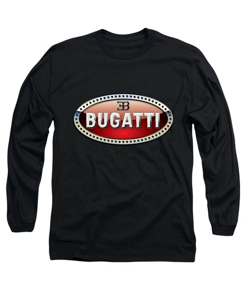 Bugatti - 3 D Badge On Black Long Sleeve T-Shirt by Serge Averbukh