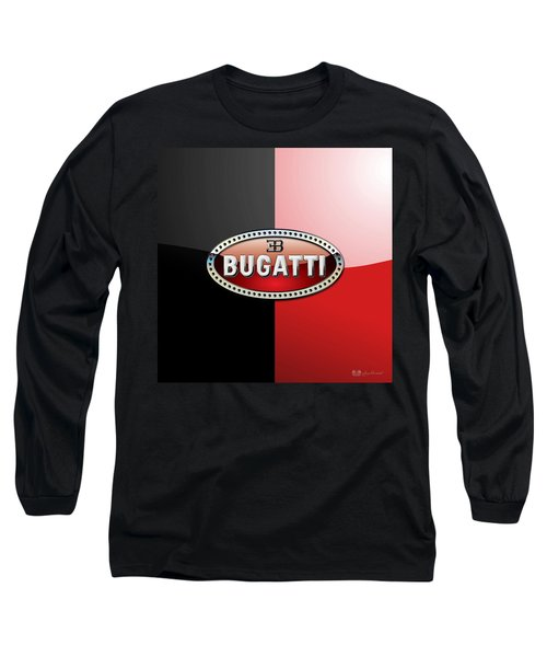 Bugatti 3 D Badge On Red And Black  Long Sleeve T-Shirt