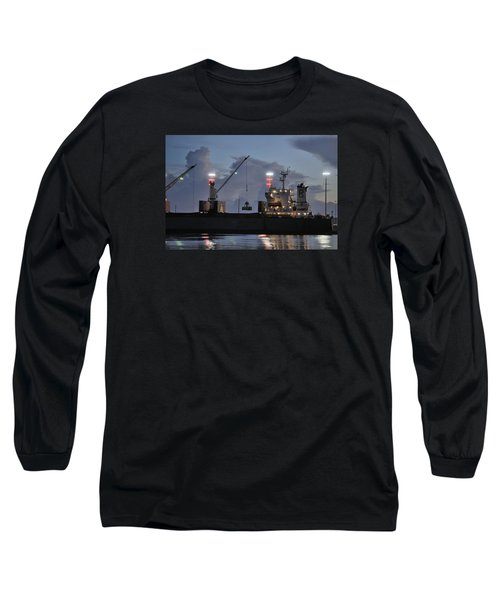 Long Sleeve T-Shirt featuring the photograph Bulk Cargo Carrier Loading At Dusk by Bradford Martin
