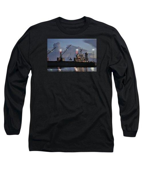 Bulk Cargo Carrier Loading At Dusk Long Sleeve T-Shirt by Bradford Martin